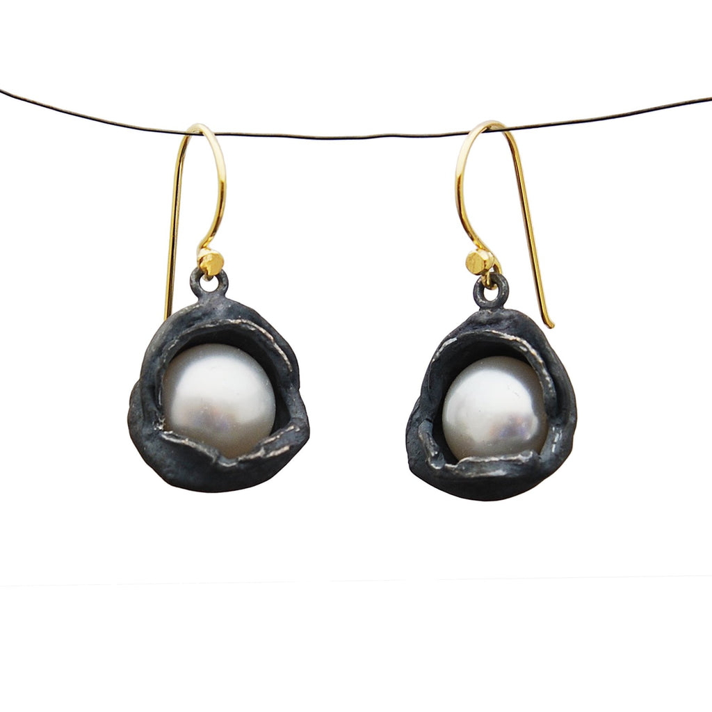 Oxidized Silver Water Droplet Dangles With Pearls