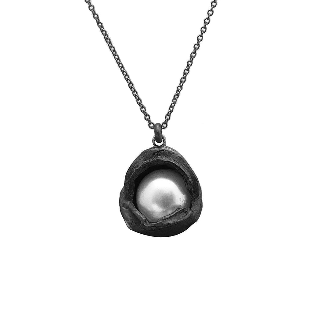 Oxidized Silver Water Droplet Pendant With Pearl