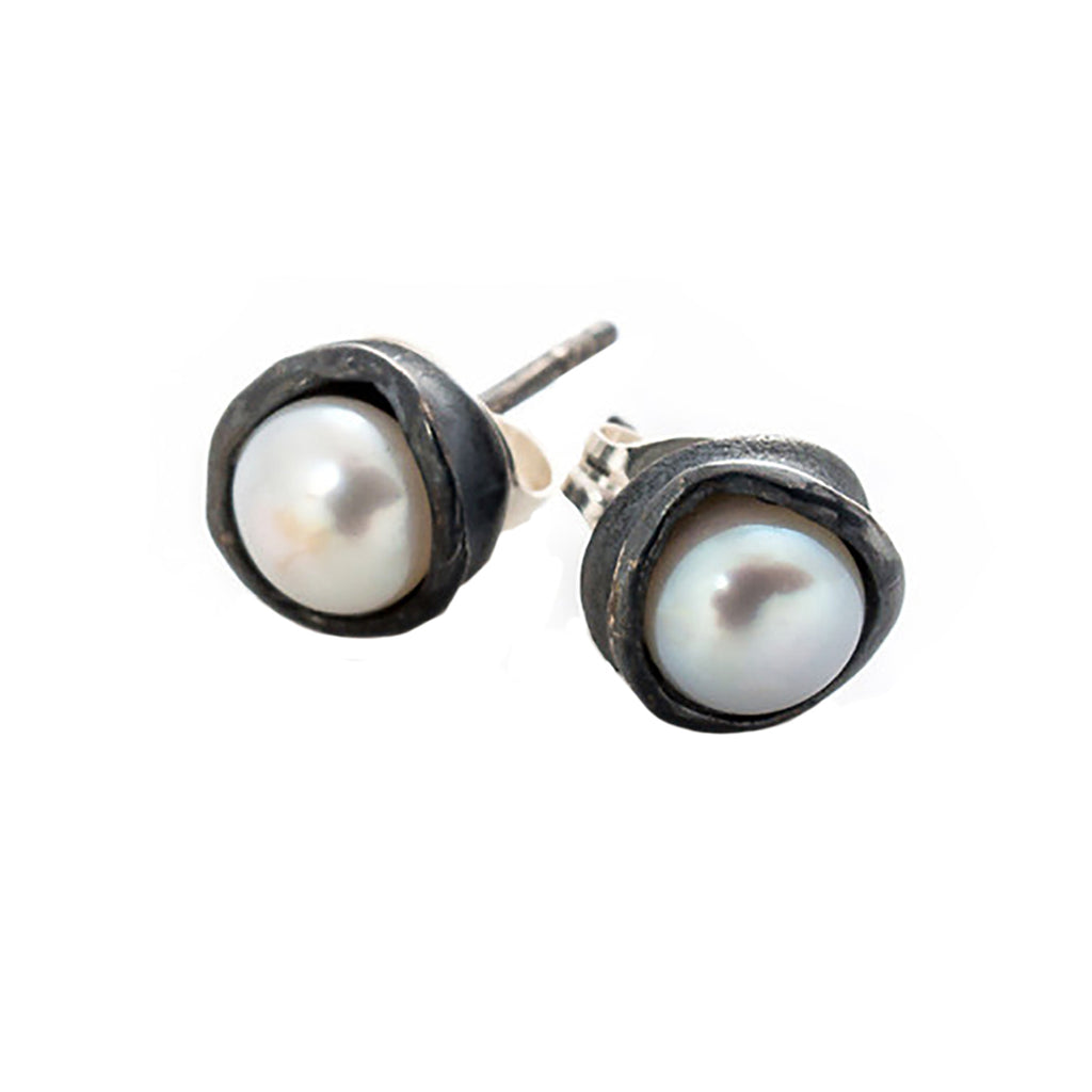 Oxidized Silver Water Droplet Studs With White Pearls
