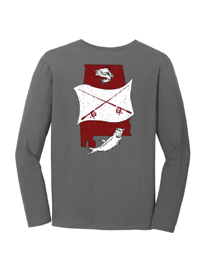 Alabama State Fish Crimson & White Long Sleeve T-Shirt