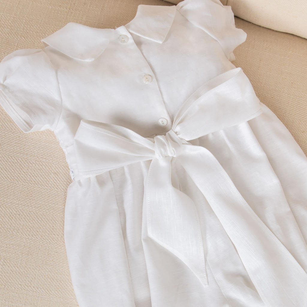 Olivia Linen Christening Romper - Girls Christening Jumpsuit
