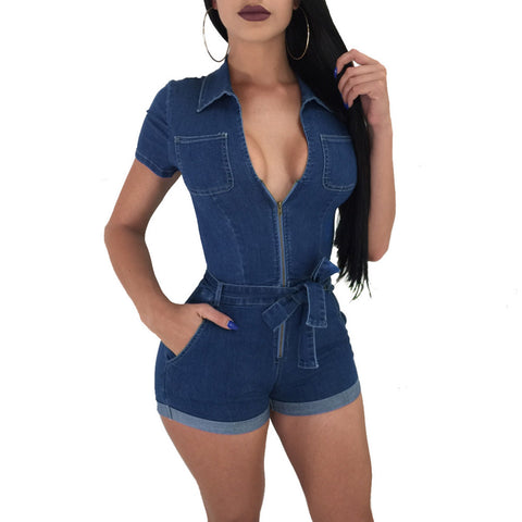 DENIM DIVA FITTED ROMPER - B ANN'S BOUTIQUE