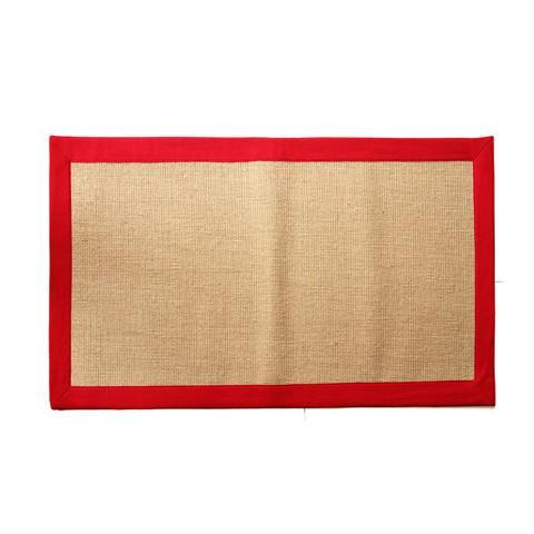Jute Mat with Red Color Cotton Border