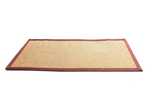 Jute Yoga Mat With Brown Cotton Border