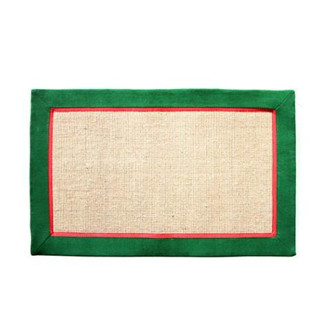Jute Mat with Green & Red Cotton Border