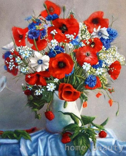 Red, blue white flowers in a vase - DIY Paint By Numbers Kits for Adults