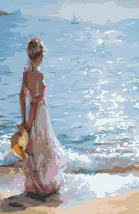 Girl looking out to sea - DIY Paint By Numbers Kits for Adults