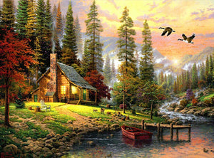 Cabin by the woods by a river at sunset - DIY Paint By Numbers Kits for Adults