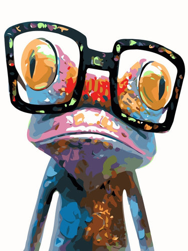 Abstract glasses on frog