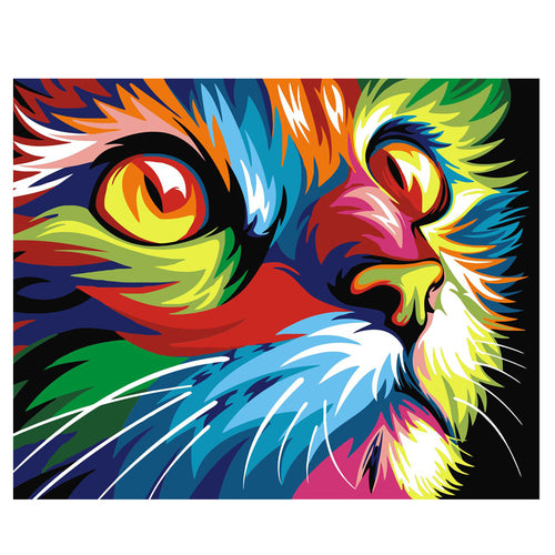 Colorful abstract cat closeup - DIY Paint By Numbers Kits for Adults