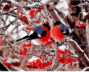 Two blue and red birds sitting on a tree - DIY Paint By Numbers Kits for Adults