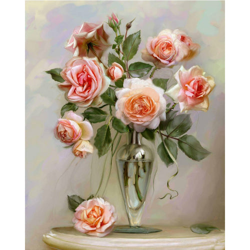 Pink roses in glass vase - DIY Paint By Numbers Kits for Adults