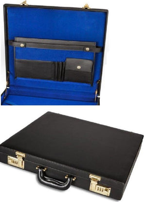 Case Apron Briefcase Style Black Leather blue inside with gold hardware