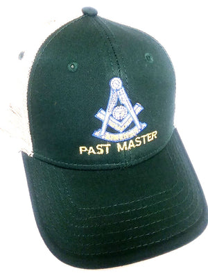 D9114 Hat Masonic Past Master KHAKI/GREEN/KHAKI with Mesh Backing and Velcro Fastener