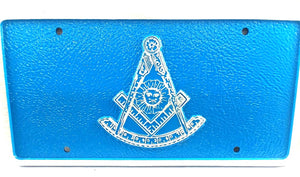 D9987 License Plate Masonic 1 1/2lb Cast Iron Aluminum Past Master with Square/Blue