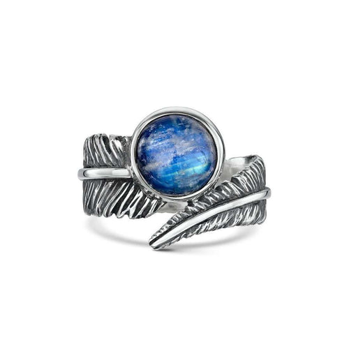 Moonstone Feather Silver Ring-Becky Rowe-JewelStreet US