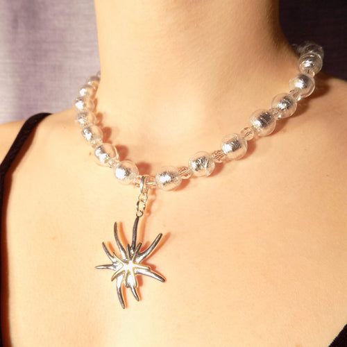 Murano Glass Bead Mountain Flower Necklace ,[product vendor],JewelStreet