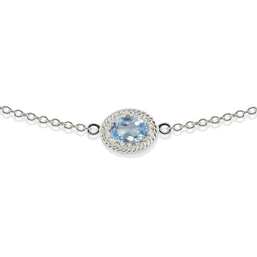 Rhodium Plated Silver Luccichio Blue Topaz Choker Necklace ,[product vendor],JewelStreet