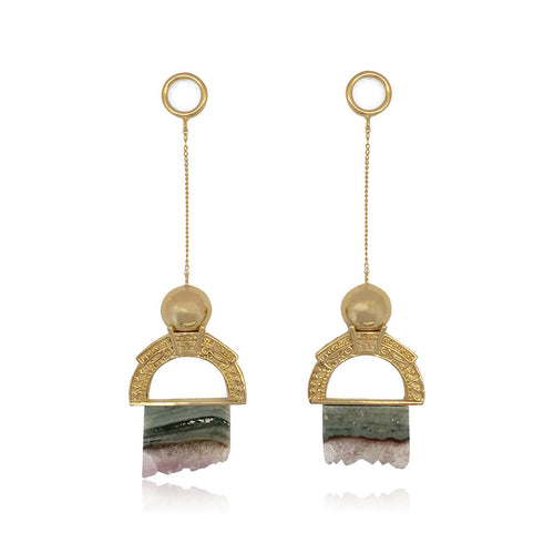 14kt Gold Plated Roca Earrings in Emerald & Lilac Tones ,[product vendor],JewelStreet