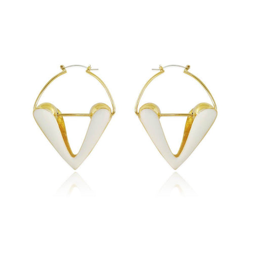 14kt Gold Plated Icarus Earrings With White Enamel ,[product vendor],JewelStreet
