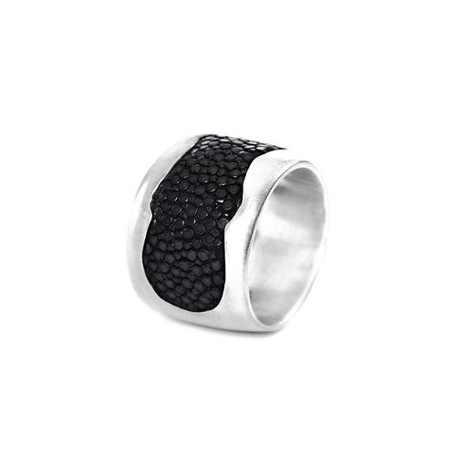 John Rhodium Plated Silver Ring With Black Stingray Leather