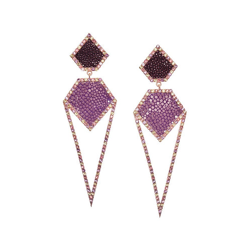 Cara Rose Gold Plated Silver Earrings With Lavender Stingray Leather