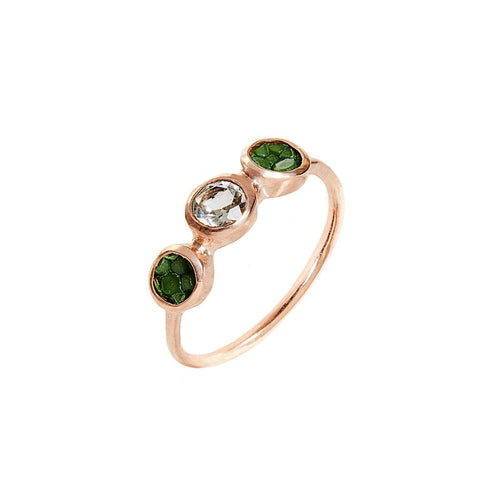 Alice Rose Gold Plated Silver Ring With Green Stingray Leather