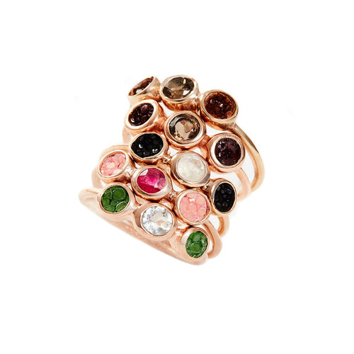 Alice Rose Gold Plated Silver Ring With Pink Stingray Leather