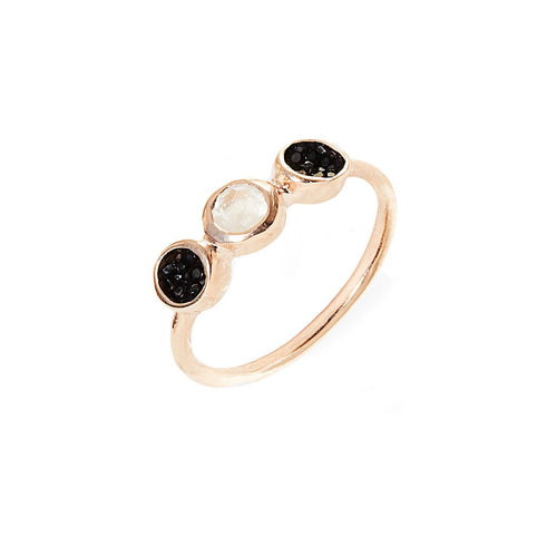 Alice Rose Gold Plated Silver Ring With Black Stingray Leather