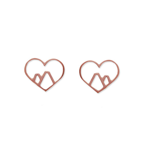 9kt Rose Gold Love the Mountains Earrings