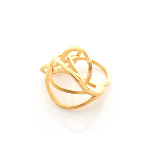 Yellow Gold Plated Large Tangled Ring ,[product vendor],JewelStreet