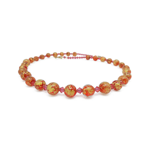 Murano Glass Bead Lovely Red Necklace ,[product vendor],JewelStreet