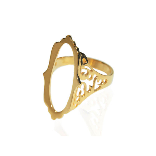 Yellow Gold Plated Mirror Hollow Ring ,[product vendor],JewelStreet