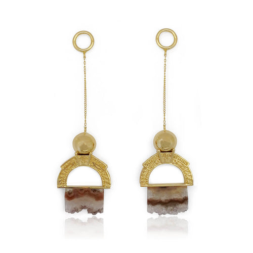 14kt Gold Plated Roca Earrings in Lilac Tones ,[product vendor],JewelStreet