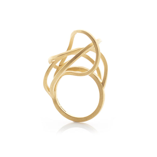 Yellow Gold Plated Round Tangled Rings ,[product vendor],JewelStreet