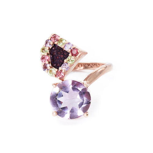 Rose Gold Plated Silver Ring With Purple Stingray Leather & Amethysts