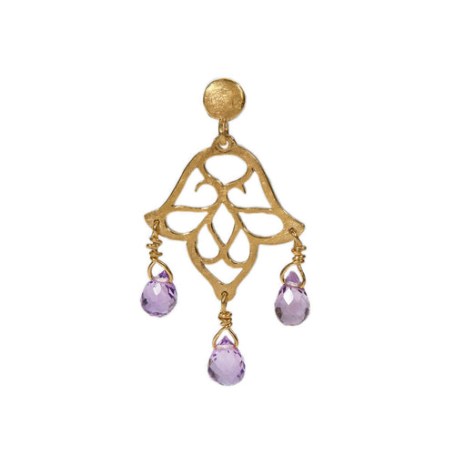 Yellow Gold Plated Small Dangling Earrings With Amethyst ,[product vendor],JewelStreet