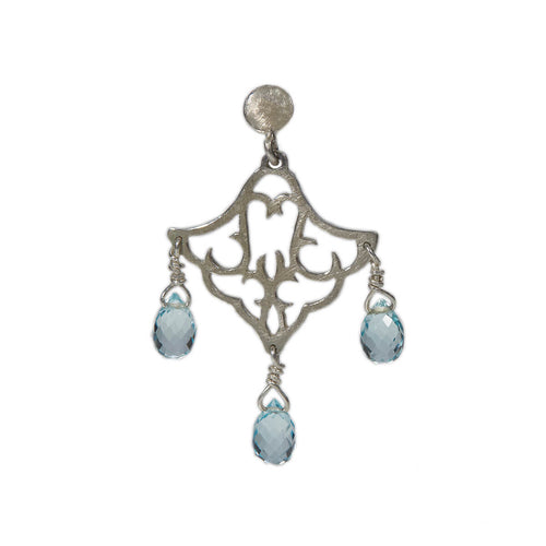 Sterling Silver Small Dangling Earrings With Blue Topaz ,[product vendor],JewelStreet