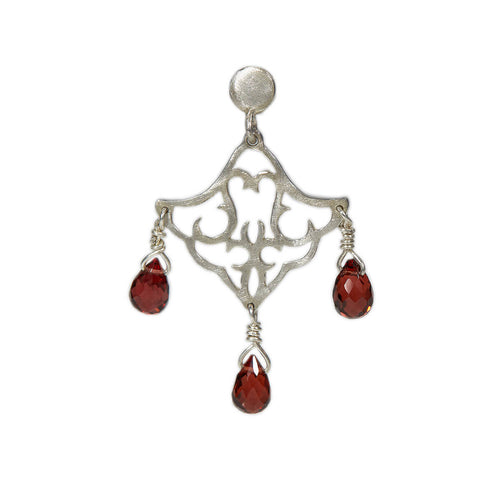 Sterling Silver Small Dangling Earrings With Red Garnet ,[product vendor],JewelStreet