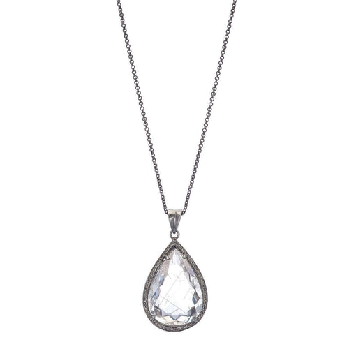 Clear Quartz Pendant With Pave Diamonds On Silver Chain-Heather Kenealy Jewelry-JewelStreet US