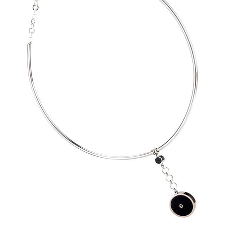 Sterling Silver & Leather Circle Choker