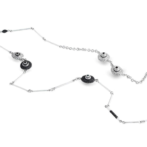 Black And White Sterling Silver Necklace-Necklaces-Agneta Bugyte-JewelStreet