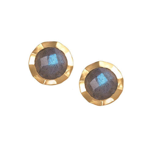 Boho Hammered Labradorite Gold Earrings