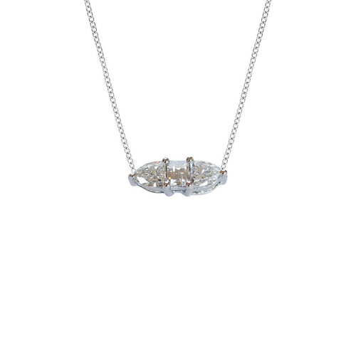 Three Fancy Solitaire Diamond Horizontal Necklace