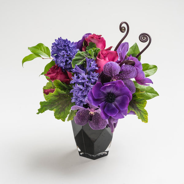 """True Blue"" purple & blue Valentine's Day flower bouquet"