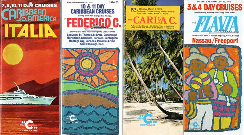 Various Ships - 4 Costa brochures w/ plans & interiors from 1970s