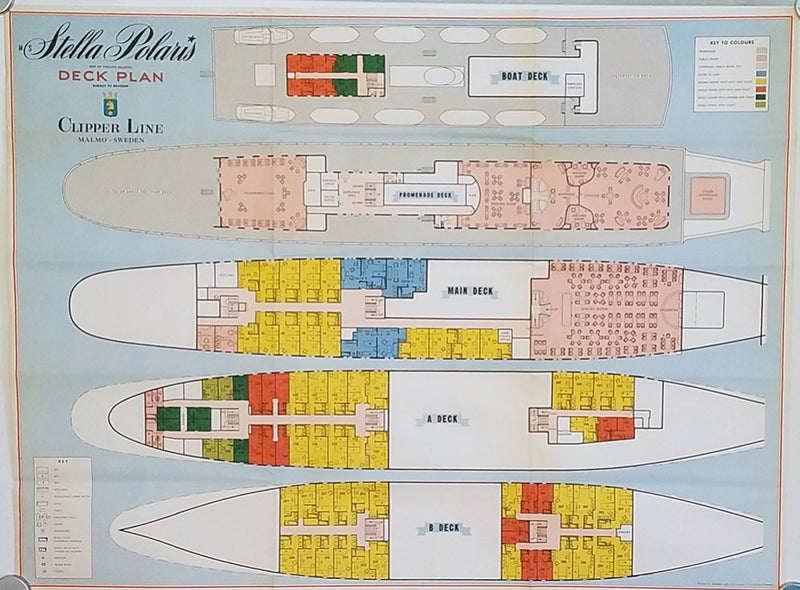 STELLA POLARIS: 1927 - Color-coded deck plan from 1965