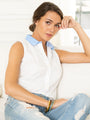Womens White with Blue Collar The Sleeveless Shirt 2