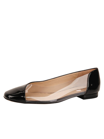 Womens Black Patent Leather Punk Round Toe Vinyl Flat