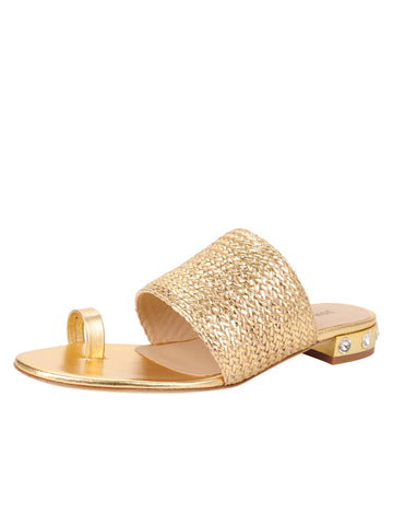 Womens Gold Combo W-Clear Stones Amica Slip On Sandal